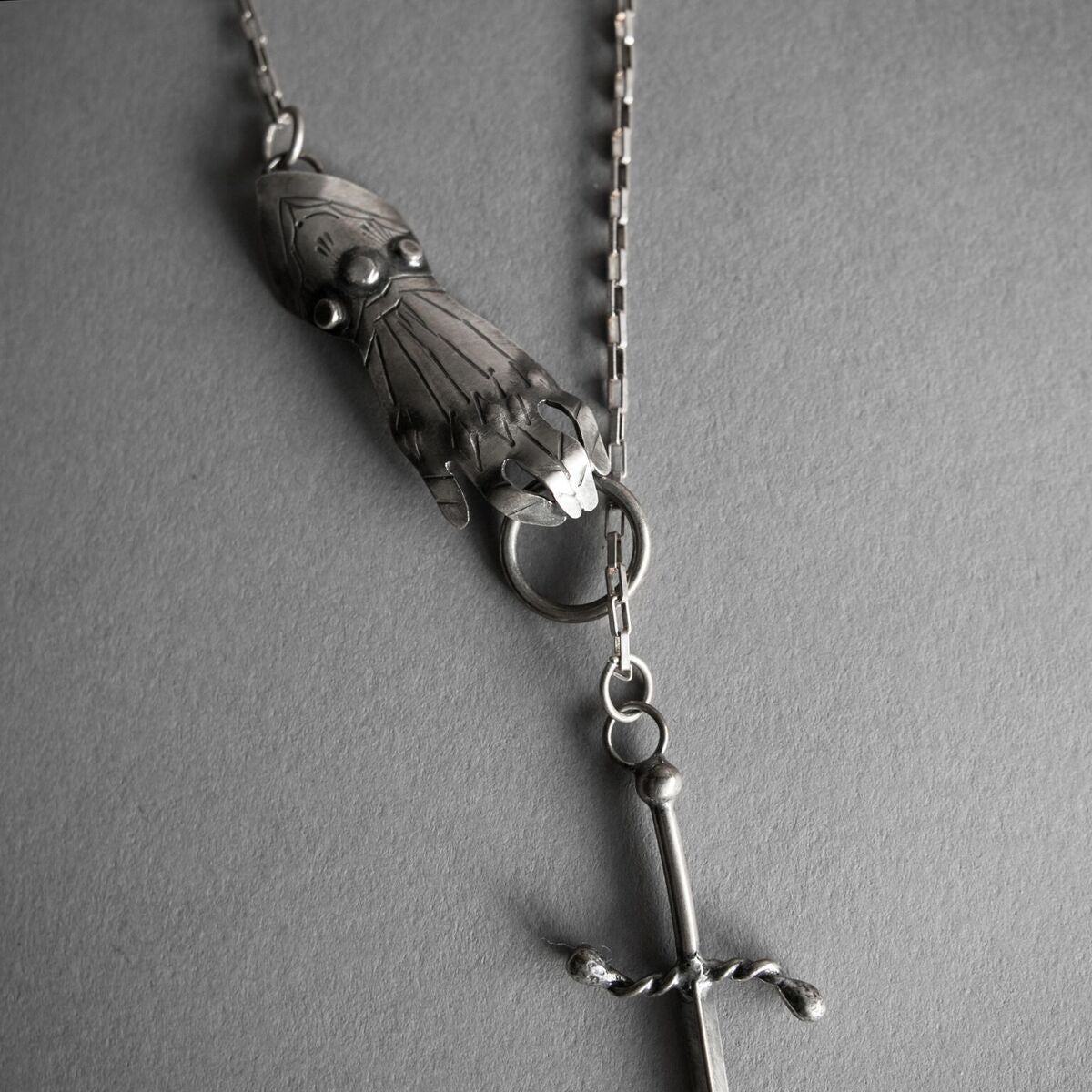 Misericord Gauntlet + Dagger Lariat Necklace, Jewelry, Morgaine Faye - Altar PDX