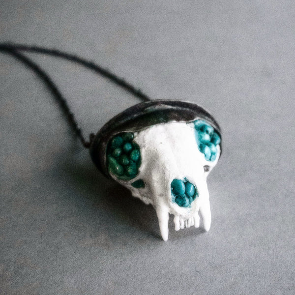 Morgaine Faye Jewelry, Mink Skull Pendant Set in Sterling Silver with Turquoise and Rutilated Quartz