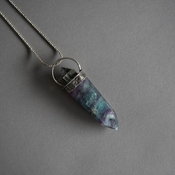 Fluorite Crystal Point Necklace with Quartz