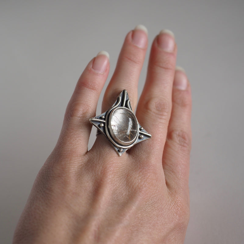 Voyager Ring with Rutilated Quartz