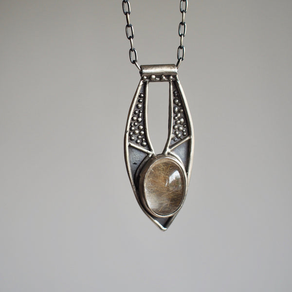 Ara Pendant Necklace with Rutilated Quartz