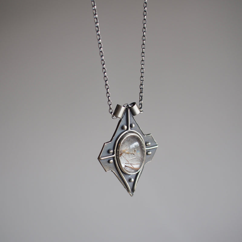 Voyager Pendant Necklace with Rutilated Quartz