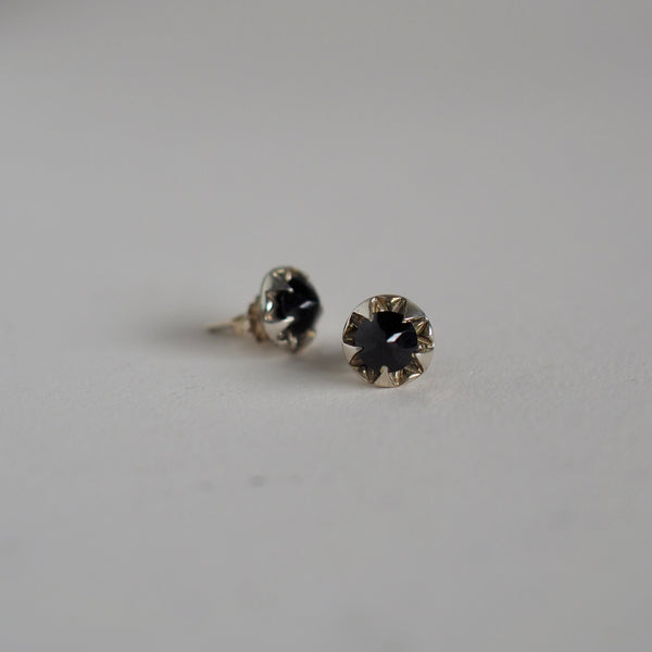 Black Spinel Pulsar Stud Earrings