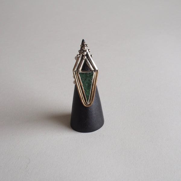 Green Druzy Triangle Ring