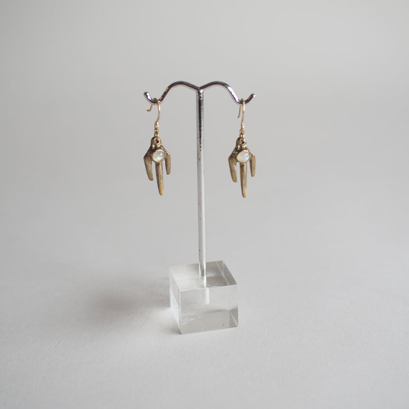 Brass Trine Earrings with Moonstone