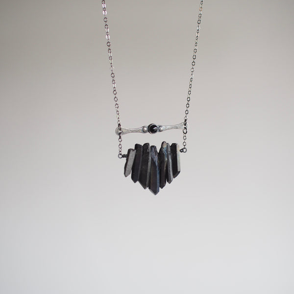 Black Multicrystal Necklace with Onyx