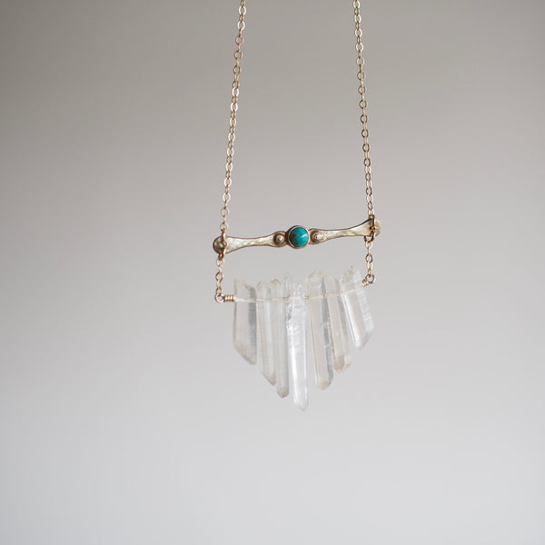 Brass and Turquoise Multicrystal Necklace