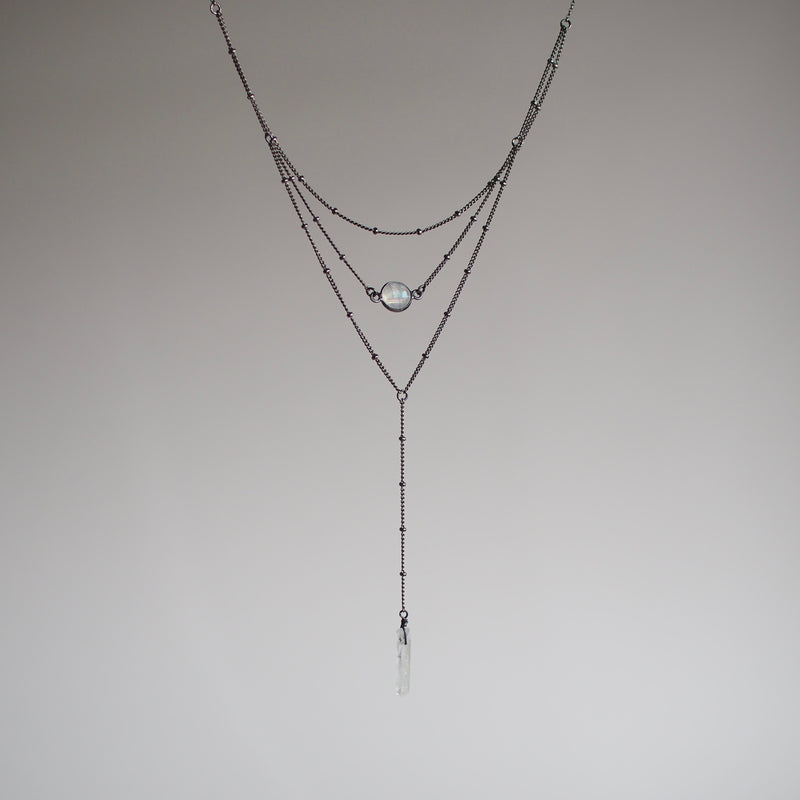 Layered Moonstone Lariat Necklace - Brass or Gunmetal