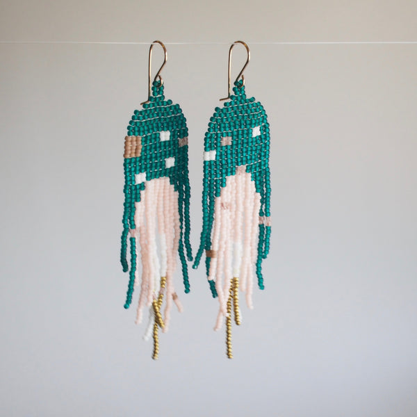 Teal Arch Dangler Earrings with Small Squares
