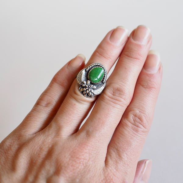 Turquoise Ring with Succulent Casting and Leaves