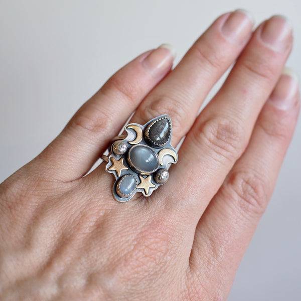 Grayscale Moon + Star Statement Ring