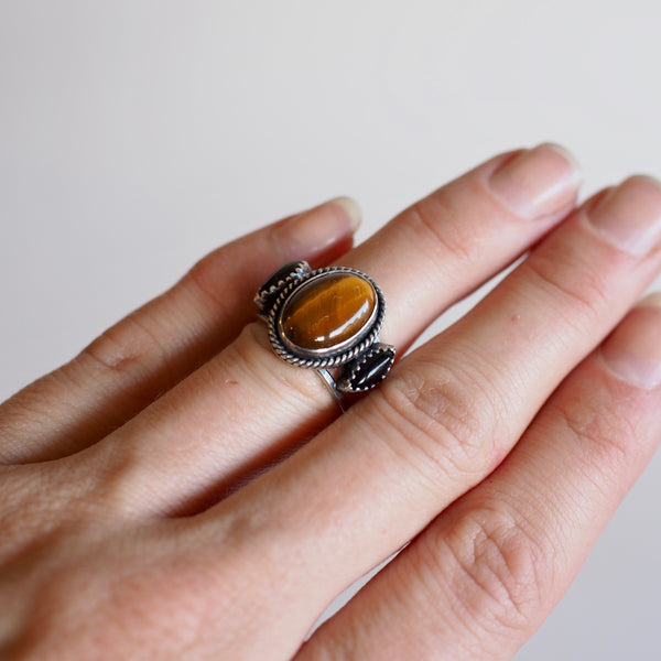 Tiger's Eye Triple Stone Ring
