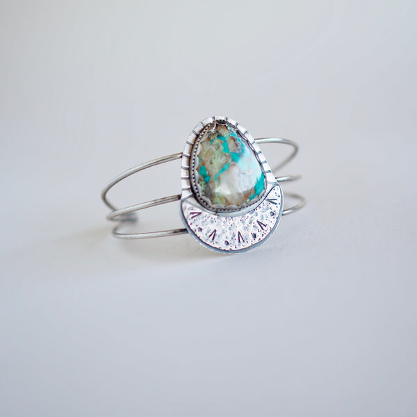 Turquoise Crescent Moon Cuff Bracelet