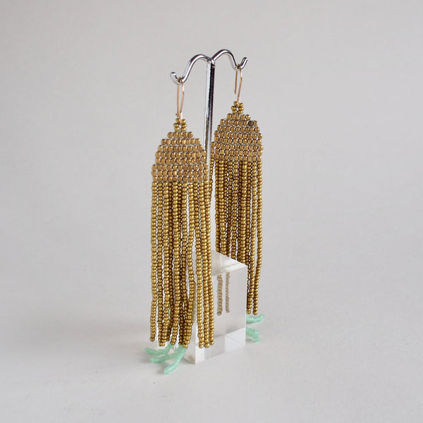 Gold Fringe with Celery Bead Earrings