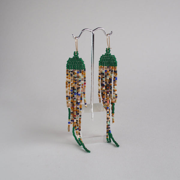 Emerald Green with Speckled Fringe Earrings