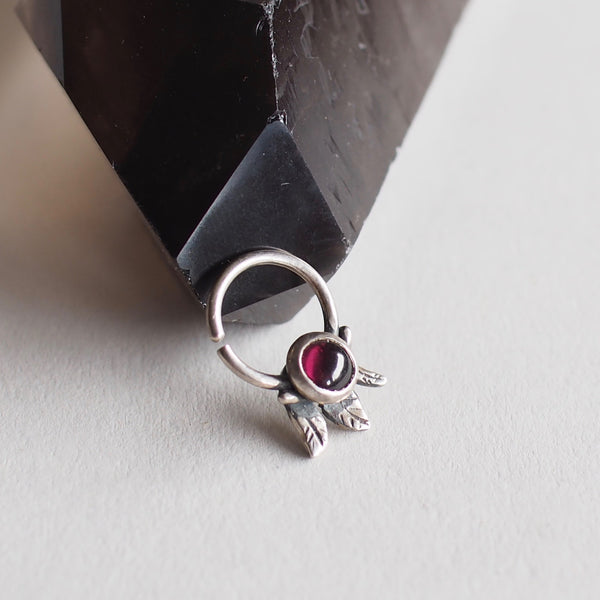 Garnet Septum Ring with Leaf