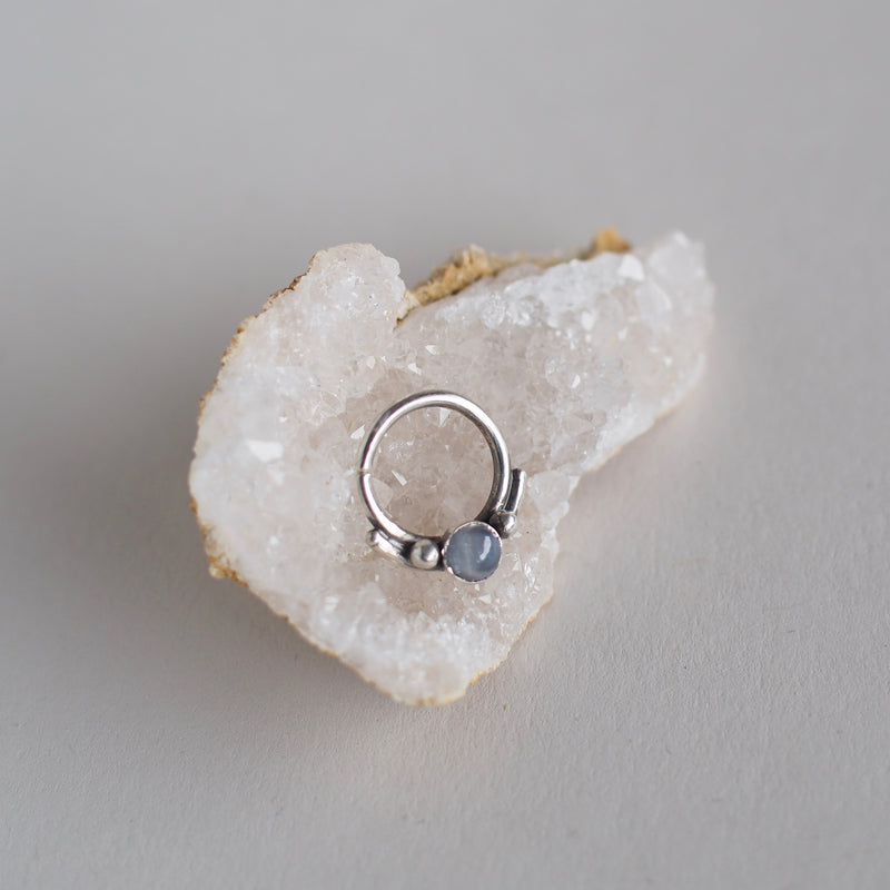 Septum Ring with Silver Bar and Stone
