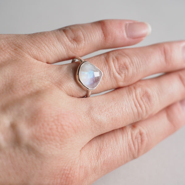 Wide Teardrop Moonstone Ring