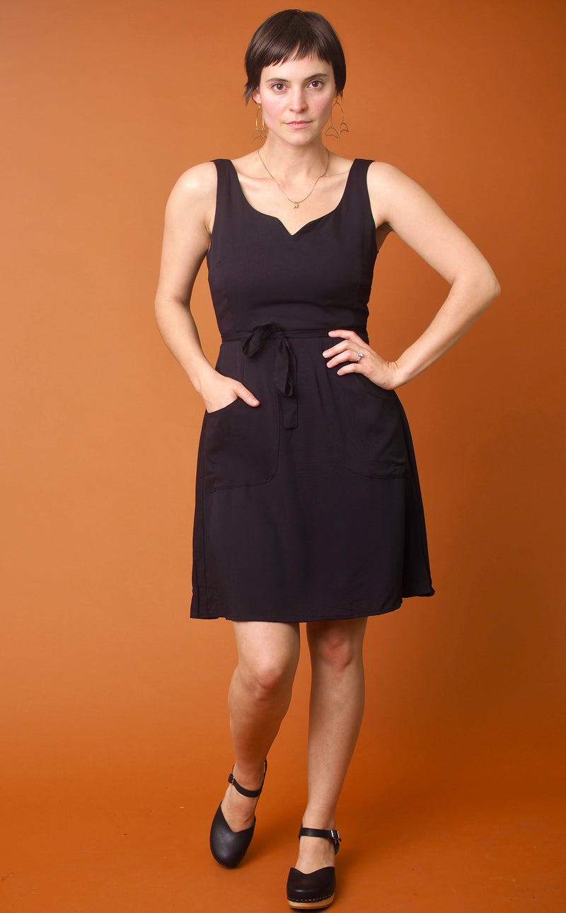 Black Challis Wrap Dress