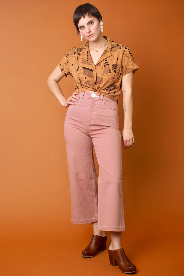 Toffee Cropped Button Up Blouse