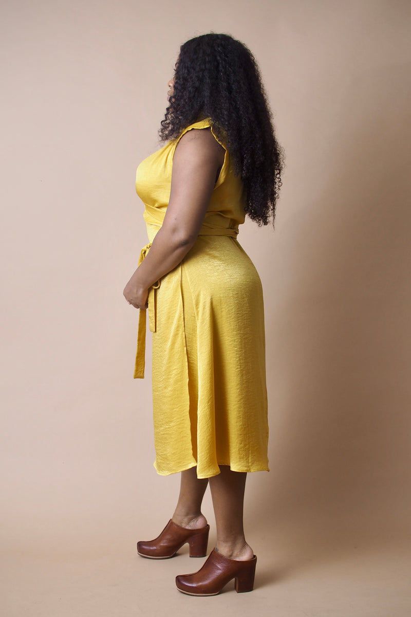 Golden Turmeric Wrap Dress
