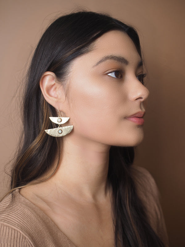 Stacked Moon Earrings