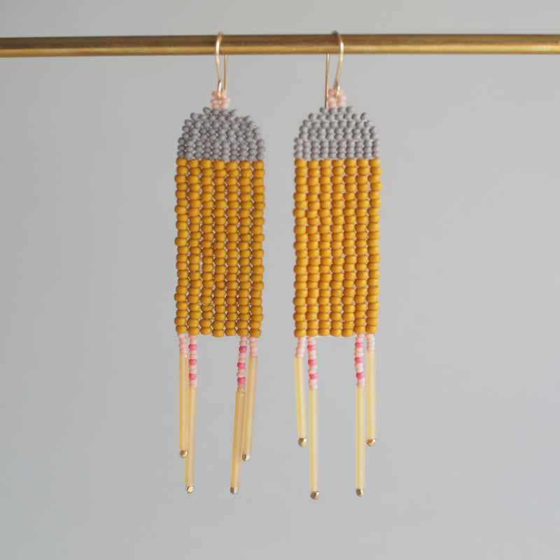 Yellow Rectangle Dangler Earrings