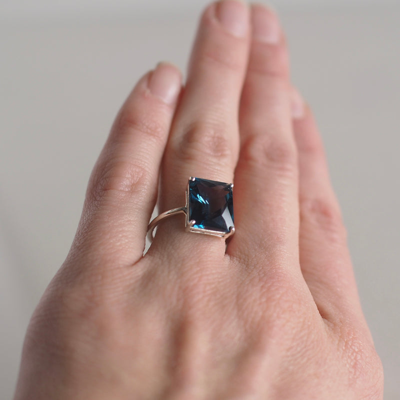 12x10 Emerald Cut London Blue Topaz Ring
