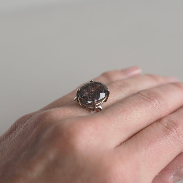 14x10 Oval Tourmalinated Quartz Ring