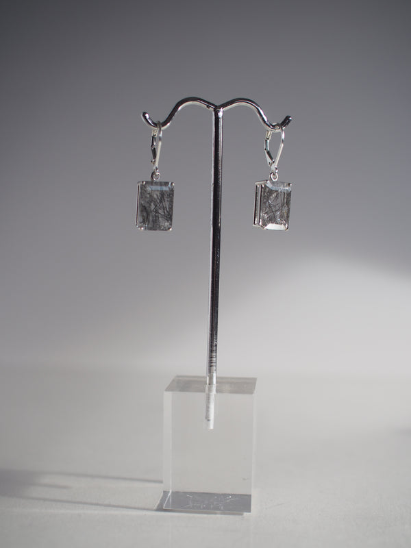 14x10 Emerald Cut Tourmalinated Quartz Earrings