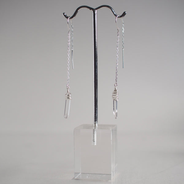 Quartz Crystal Threader Earrings