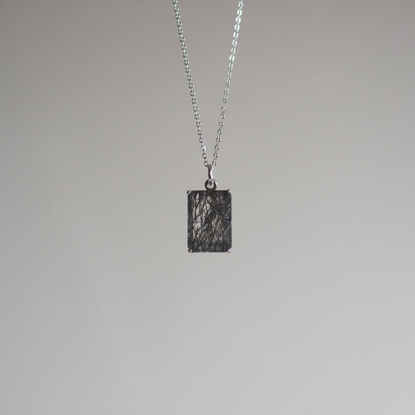 14x10 Emerald Cut Tourmalinated Quartz Necklace