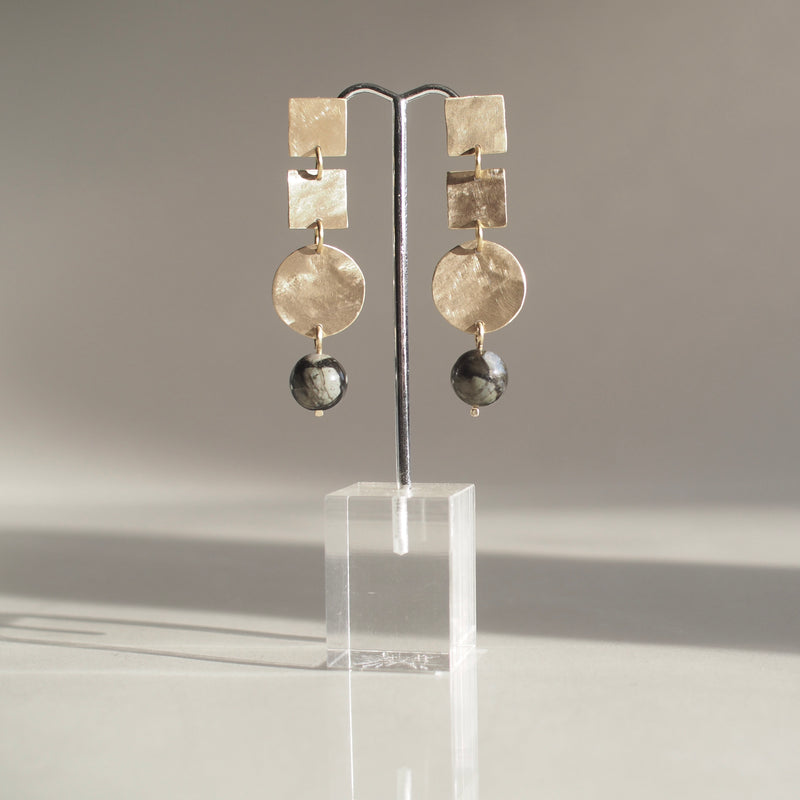 Gray Opal Drop Earrings