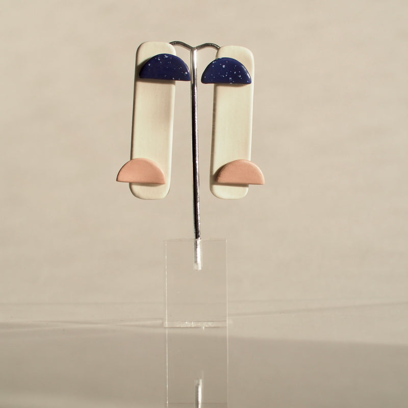 Blue and Pink Abstract Earrings