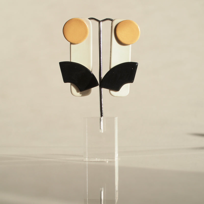 Black and Orange Abstract Earrings