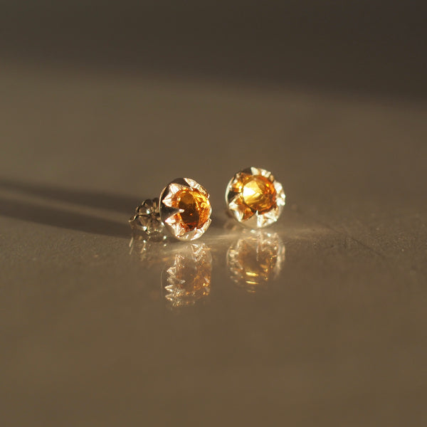 Citrine Pulsar Stud Earrings