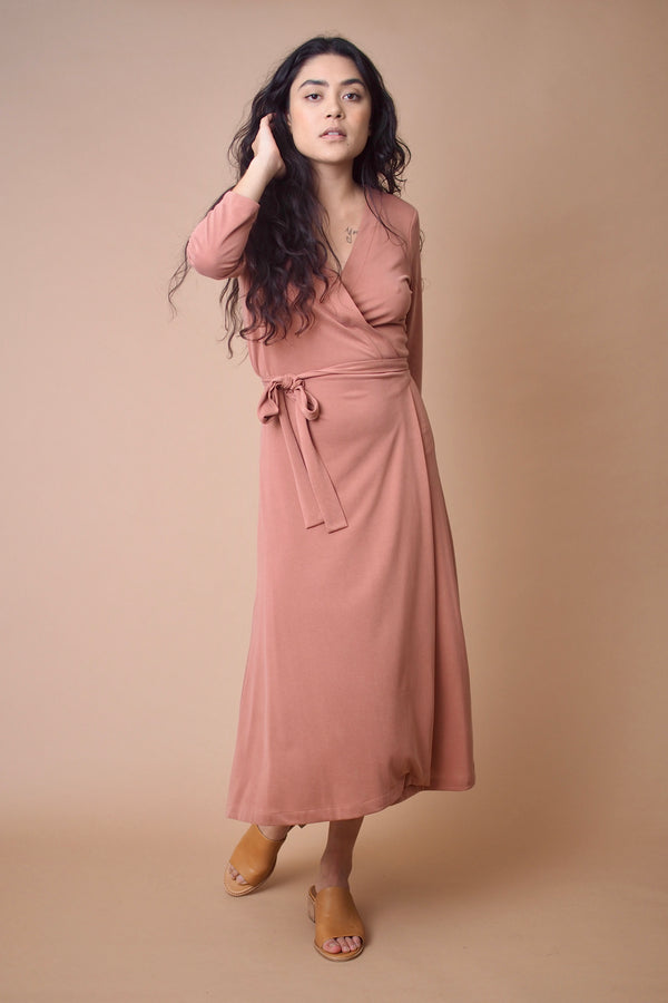 Canyon 3/4 Sleeve Wrap Dress