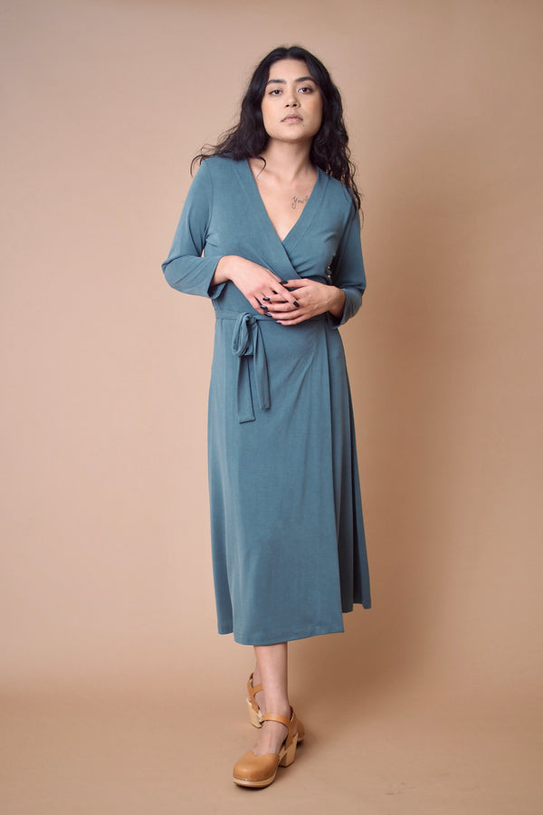 Lagoon 3/4 Sleeve Wrap Dress