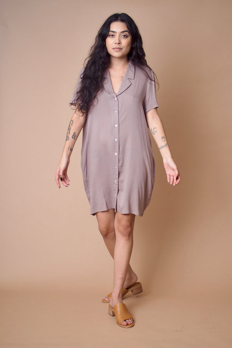 Taupe Button Down Dress