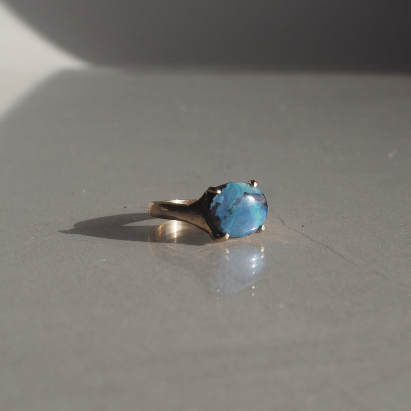 One of a Kind Oval Boulder Opal Ring