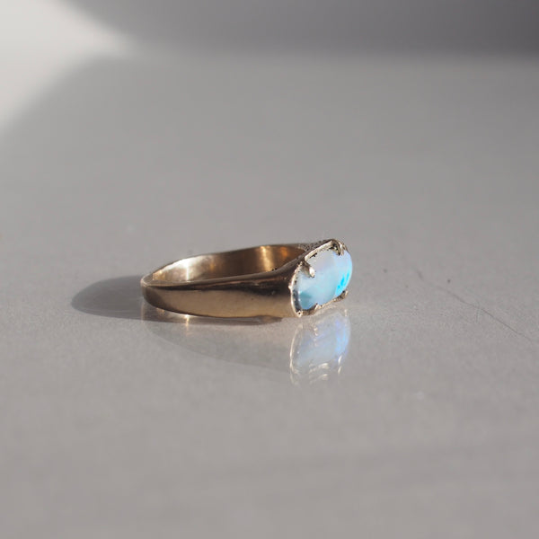 One of a Kind Oval Inlay Boulder Opal Ring