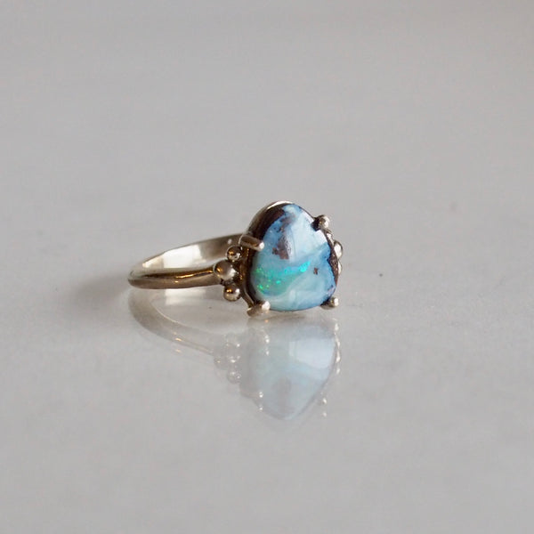 One of a Kind Triangle Boulder Opal Ring in Dotted Setting