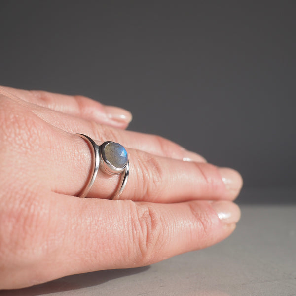 Silver Double Band Ring with Labradorite