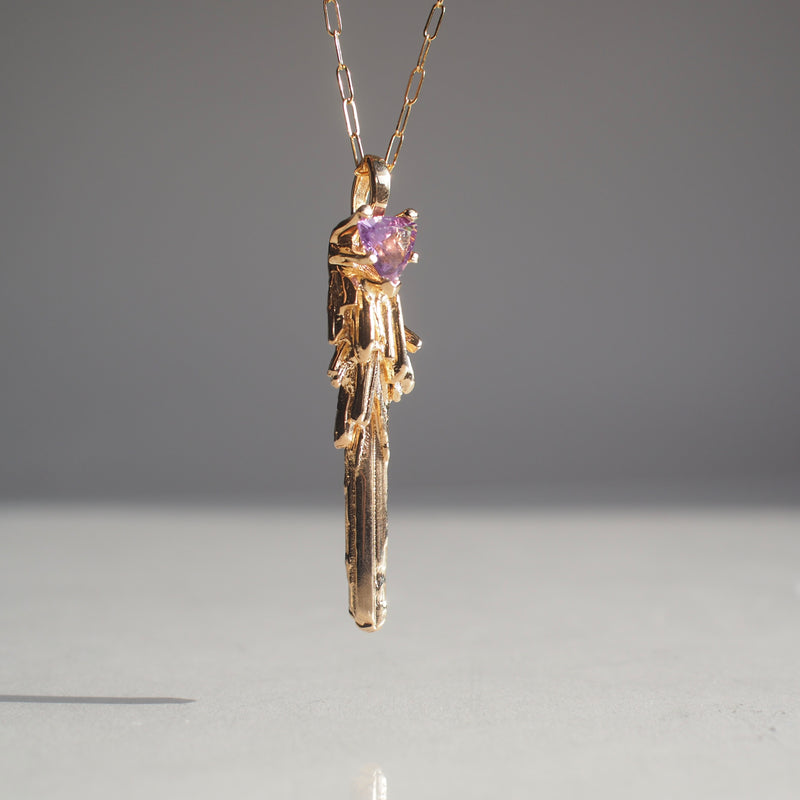 Gold Key to the Unknown Necklace with Amethyst