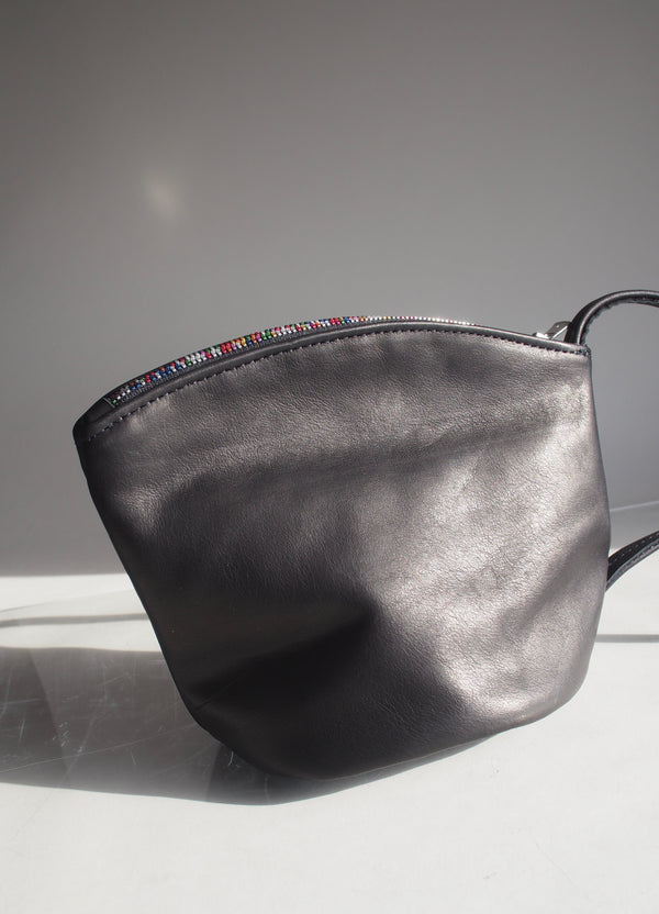 Black Teapot Clutch with Rainbow Zipper