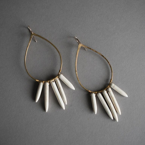 Brass Teardrop and Bone Earrings