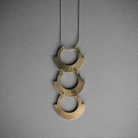 3 Tier Stamped Brass Necklace
