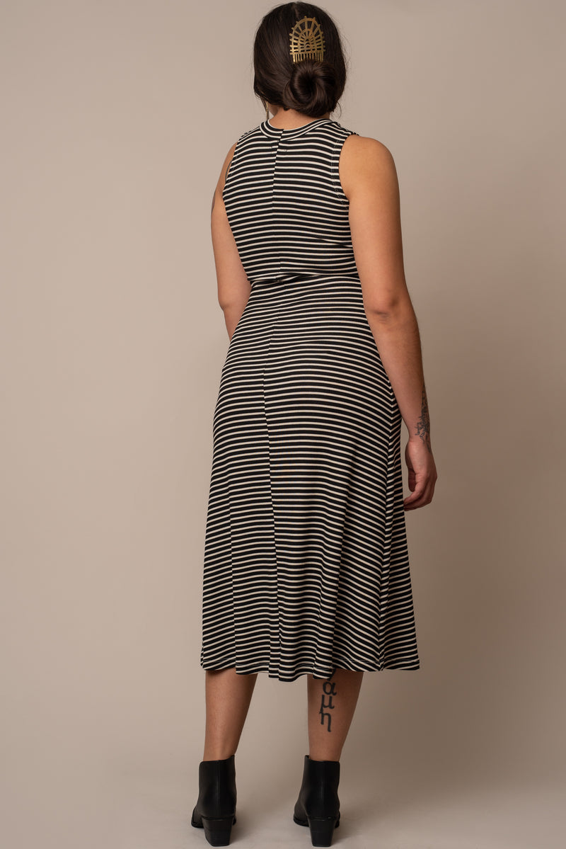 Striped-Mock-Turtleneck-Dress