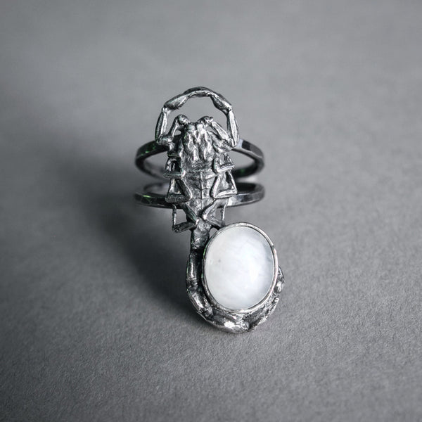Theeth Jewelry, Silver Cast Scorpion Ring with Moonstone
