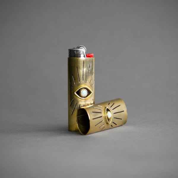 Brass and Opal All Seeing Eye Lighter Case